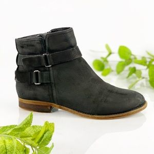 Franco Sarto Black Lather Ankle Bootie Zip Up Side